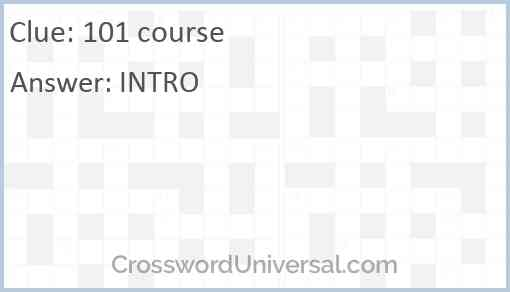101 course Answer