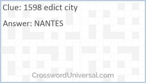 1598 edict city Answer