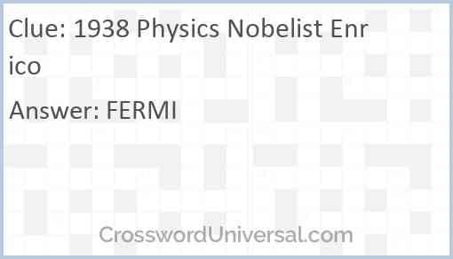 1938 Physics Nobelist Enrico Answer