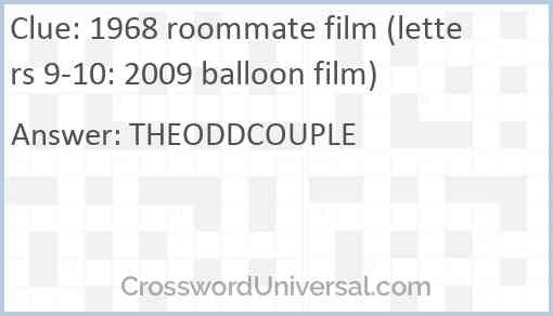 1968 roommate film (letters 9-10: 2009 balloon film) Answer
