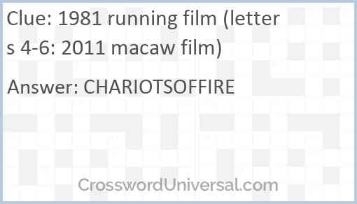 1981 running film (letters 4-6: 2011 macaw film) Answer