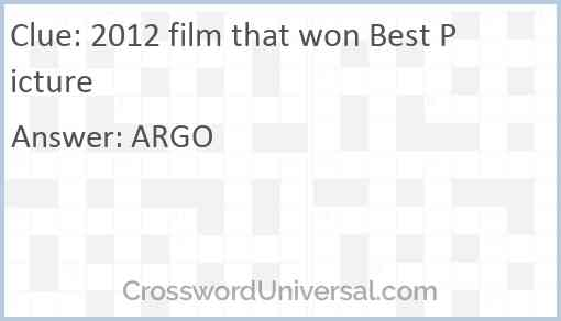 2012 film that won Best Picture Answer