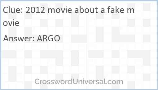 2012 movie about a fake movie Answer