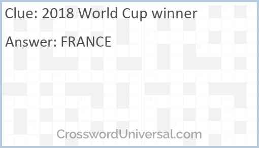 2018 World Cup winner Answer