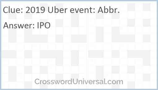 2019 Uber event: Abbr. Answer