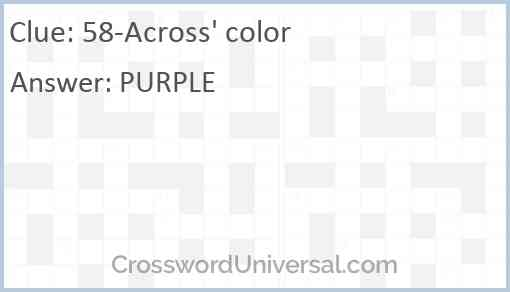 58-Across' color Answer