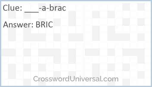 ___-a-brac Answer