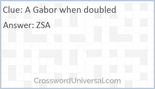 A Gabor when doubled Answer