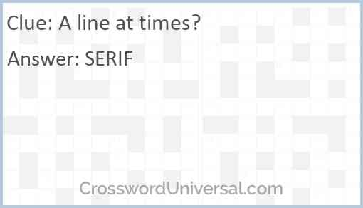 A line at times? Answer