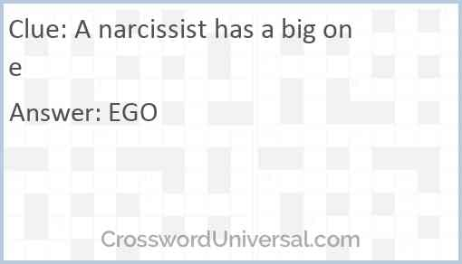 A narcissist has a big one Answer