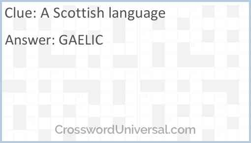 A Scottish language Answer