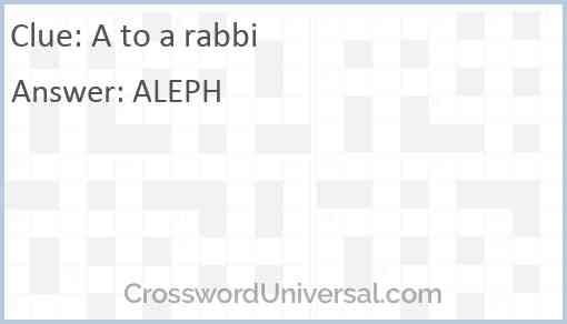 A to a rabbi Answer
