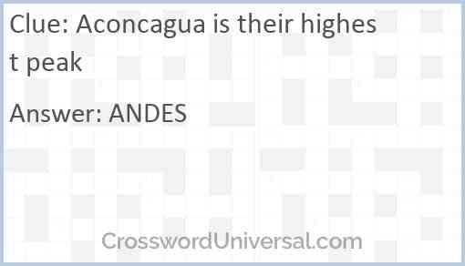 Aconcagua is their highest peak Answer