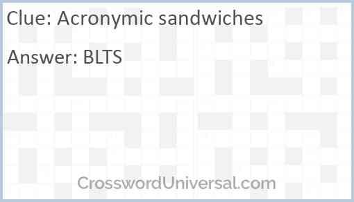 Acronymic sandwiches Answer