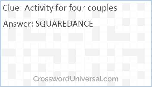 Activity for four couples Answer