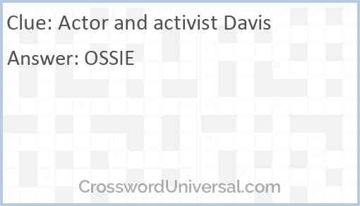 Actor and activist Davis Answer