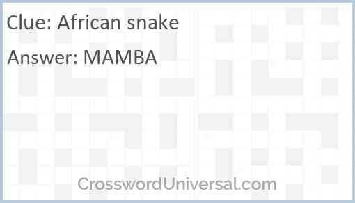 African snake Answer