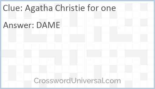 Agatha Christie for one Answer