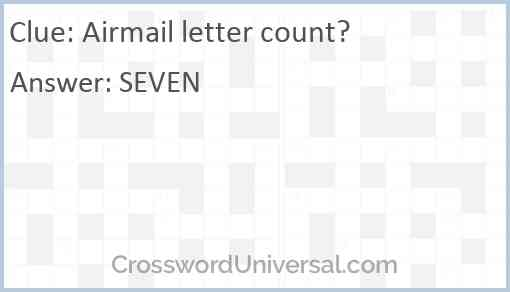 Airmail letter count? Answer