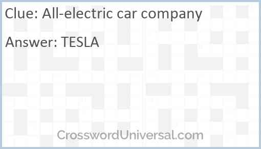 All-electric car company Answer