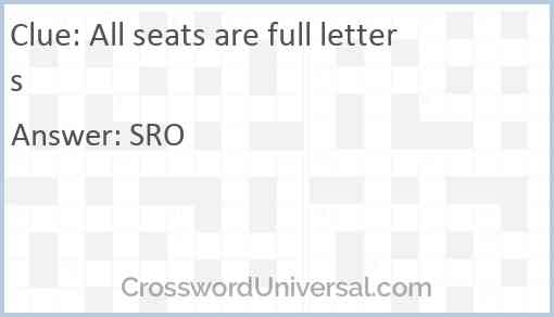 All seats are full letters Answer