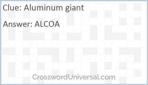 Aluminum giant Answer