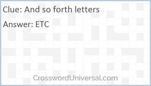 And so forth letters Answer