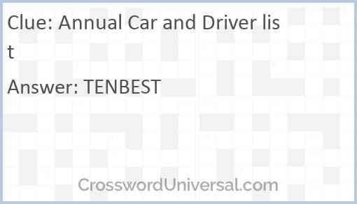 Annual Car and Driver list Answer