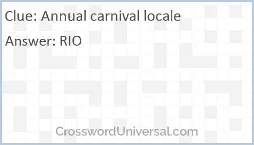 Annual carnival locale Answer