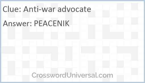 Anti-war advocate Answer