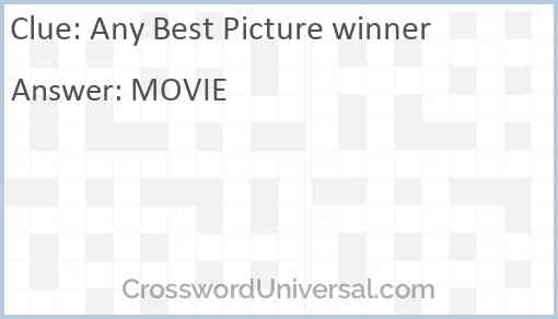 Any Best Picture winner Answer