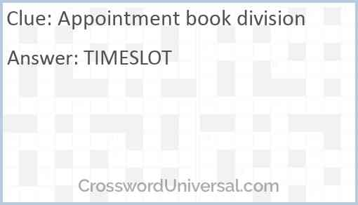 Appointment book division Answer