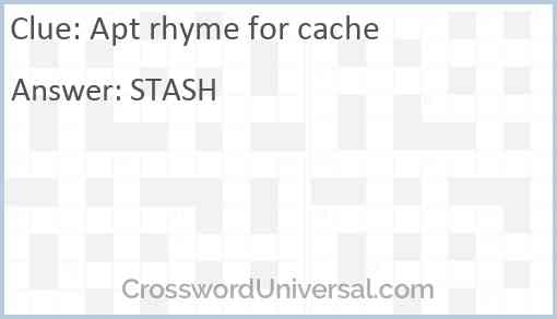 Apt rhyme for cache Answer
