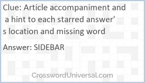 Article accompaniment and a hint to each starred answer's location and missing word Answer