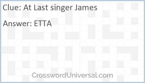 At Last singer James Answer