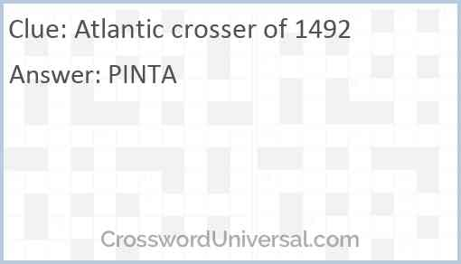 Atlantic crosser of 1492 Answer