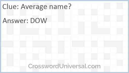 Average name? Answer