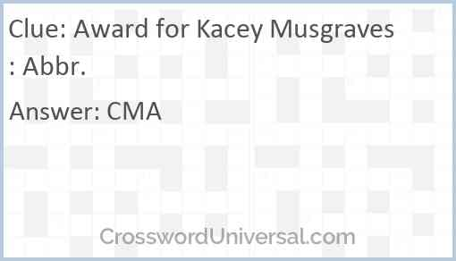Award for Kacey Musgraves: Abbr. Answer