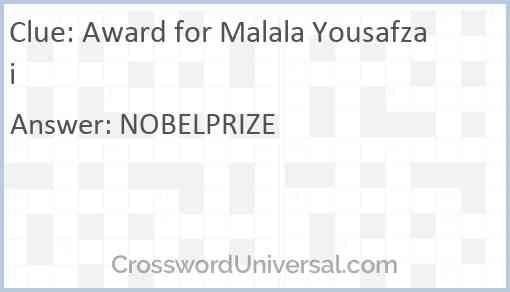 Award for Malala Yousafzai Answer