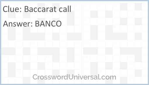 Baccarat call Answer
