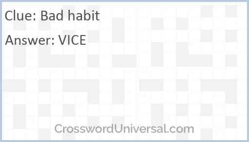 Bad habit Answer
