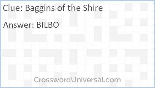 Baggins of the Shire Answer
