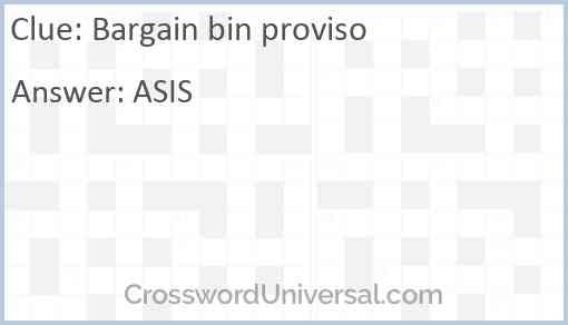 Bargain bin proviso Answer
