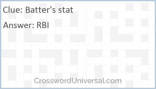 Batter's stat Answer