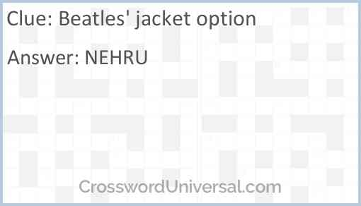 Beatles' jacket option Answer