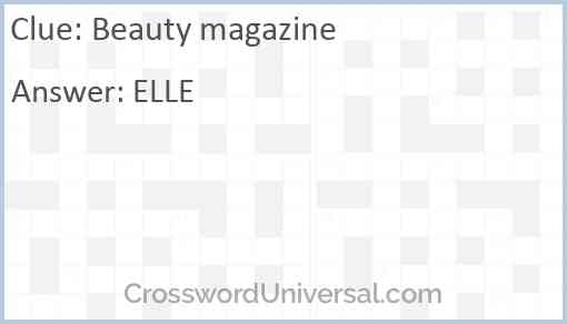 Beauty magazine Answer