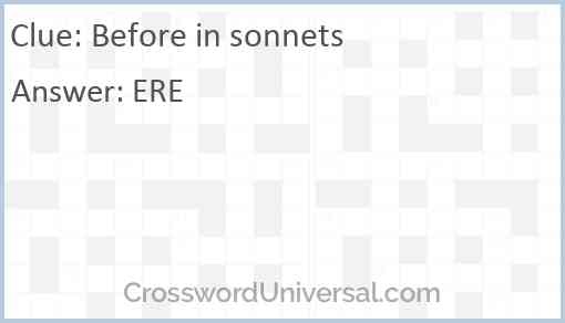 Before in sonnets Answer