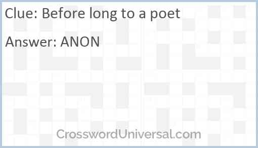 Before long to a poet Answer