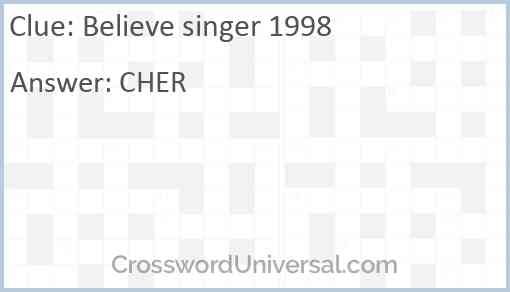 Believe singer 1998 Answer