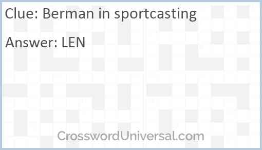 Berman in sportcasting Answer